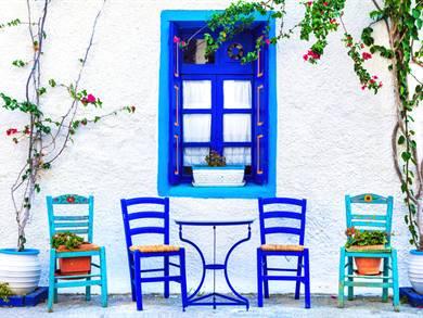 Case bianche e blu Grecia